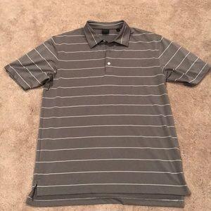 Men's gray and white stripe golf shirt